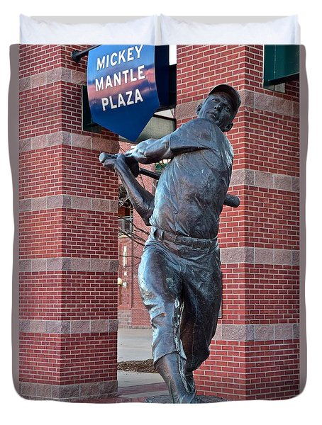 Mickey Mantle Plaza Duvet Cover by Frozen in Time Fine Art Photography