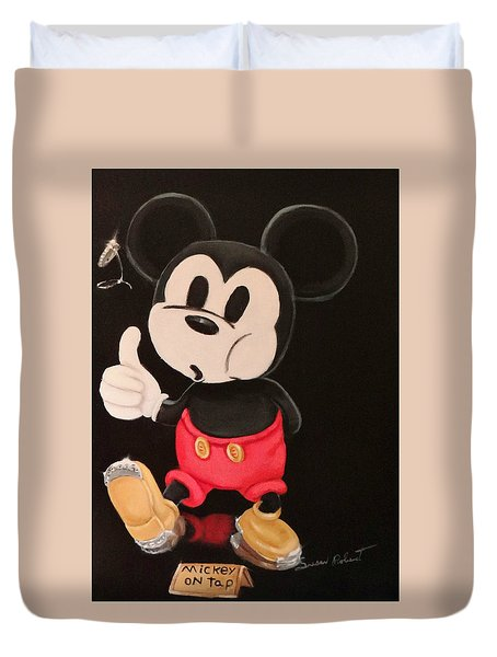 Duvet Cover featuring the painting Mickey On Tap by Susan Roberts