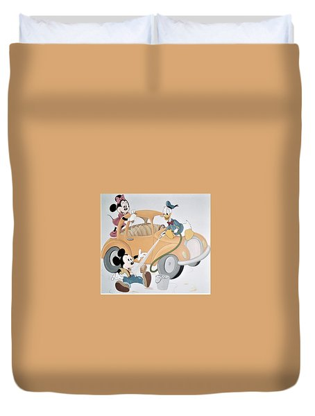 Micky,minnie And Donald On Car Duvet Cover