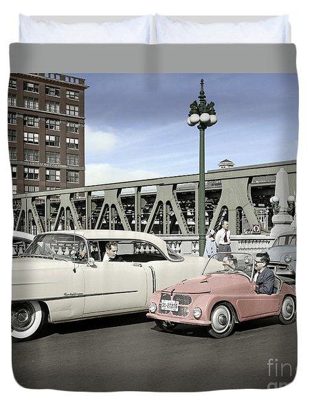 Micro Car And Cadillac Duvet Cover