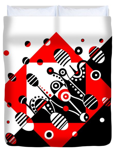 Microgravity - Red And Black Duvet Cover by Deyana Deco