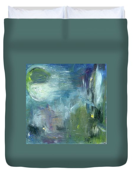 Duvet Cover featuring the painting Mid-day Reflection by Michal Mitak Mahgerefteh