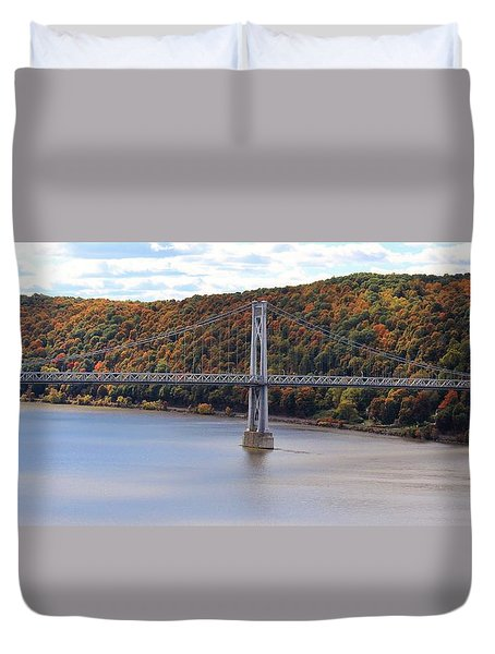 Mid Hudson Bridge In Autumn Duvet Cover