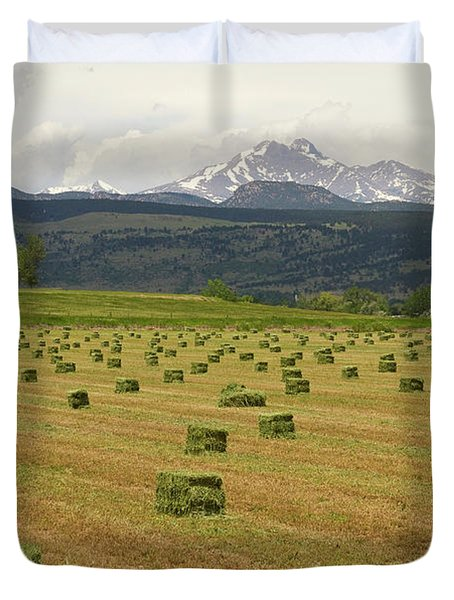 Mid June Colorado Hay  And The Twin Peaks Longs And Meeker Duvet Cover by James BO  Insogna