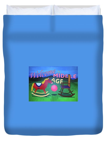 Middle Age Birthday Card Duvet Cover by Thomas Blood
