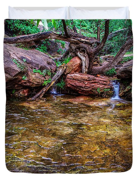 Middle Emerald Pools Zion National Park Duvet Cover