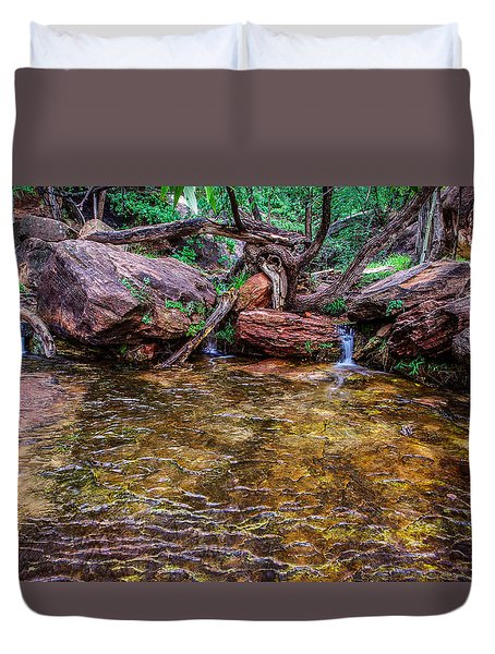 Middle Emerald Pools Zion National Park Duvet Cover