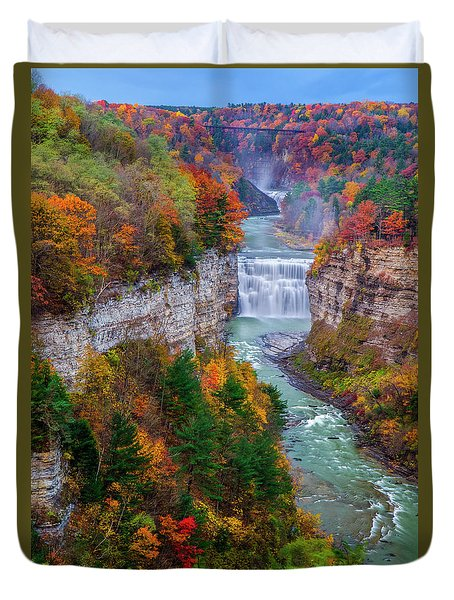 Middle Falls Of Letchworth State Park Duvet Cover