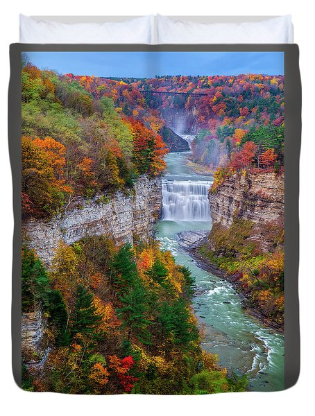 Middle Falls Of Letchworth State Park Duvet Cover by Mark Papke