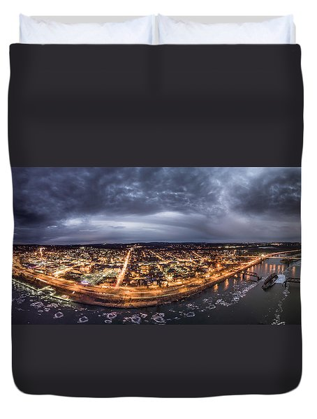 Middletown Connecticut, Twilight Panorama Duvet Cover