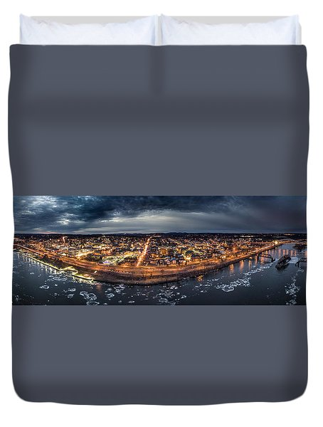 Middletown Ct, Twilight Panorama Duvet Cover