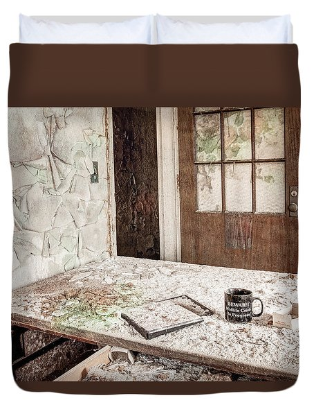 Duvet Cover featuring the photograph Midlife Crisis In Progress - Abandoned Asylum by Gary Heller
