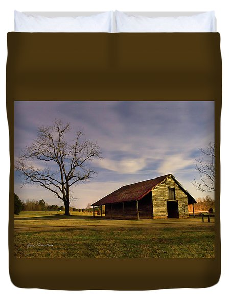 Duvet Cover featuring the photograph Midnight At The Mule Barn by George Randy Bass