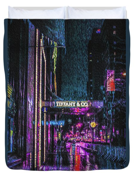 Midnight At Tiffany Painting Duvet Cover
