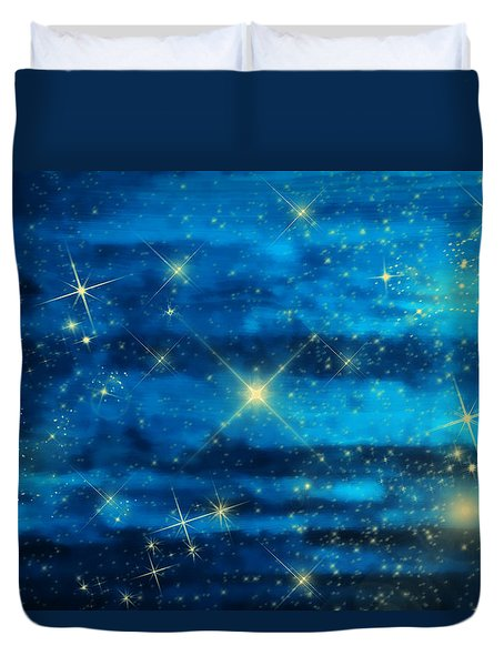 Midnight Blue Sky With Stars Duvet Cover