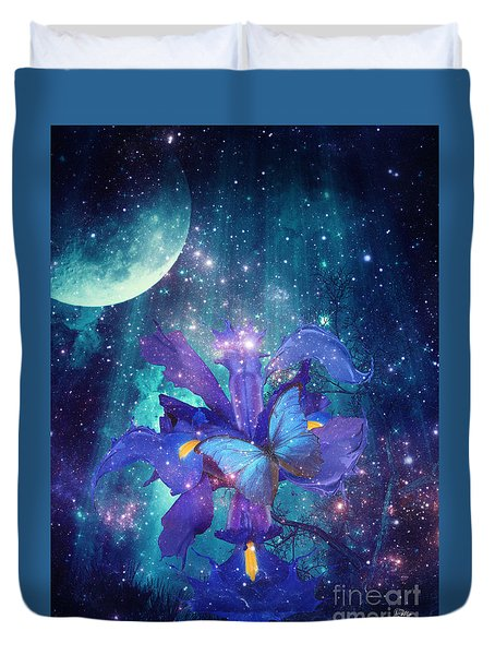 Midnight Butterfly Duvet Cover by Mo T