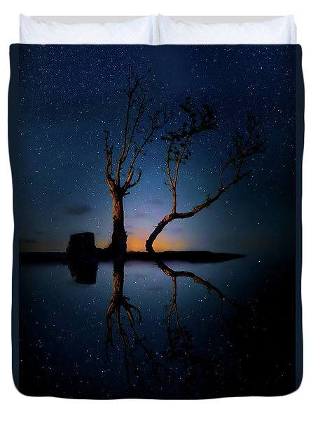 Duvet Cover featuring the photograph Midnight Dance Of The Trees by Mark Andrew Thomas