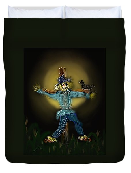 Duvet Cover featuring the painting Midnight In The Cornfield by Kevin Caudill