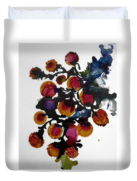 Midnight Magiic Bloom-1 Duvet Cover by Alika Kumar