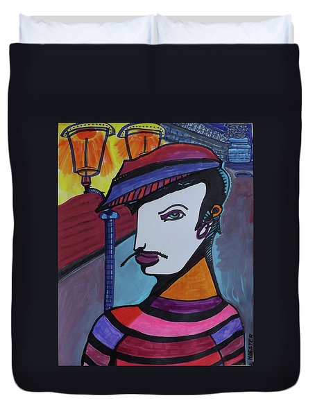 Midnight Mime Duvet Cover