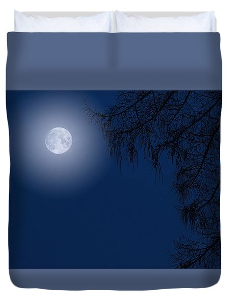 Midnight Moon And Night Tree Silhouette Duvet Cover