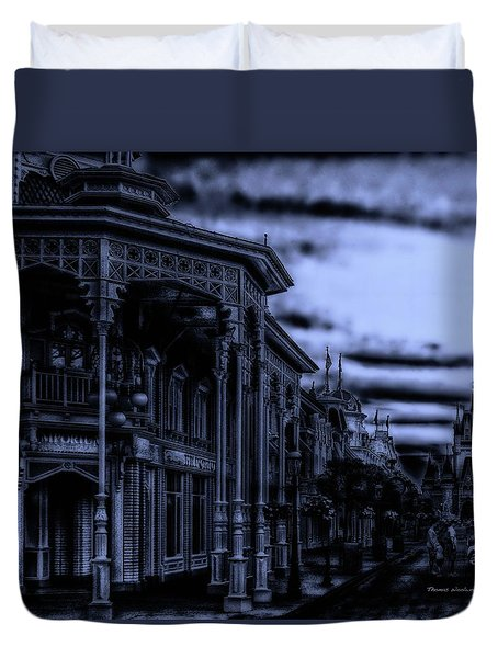 Midnight On Main Street Disney World Mp Duvet Cover by Thomas Woolworth