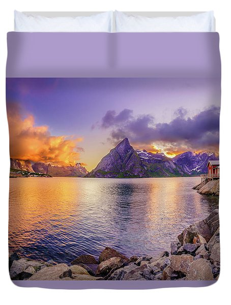 Midnight Orange Duvet Cover by Dmytro Korol