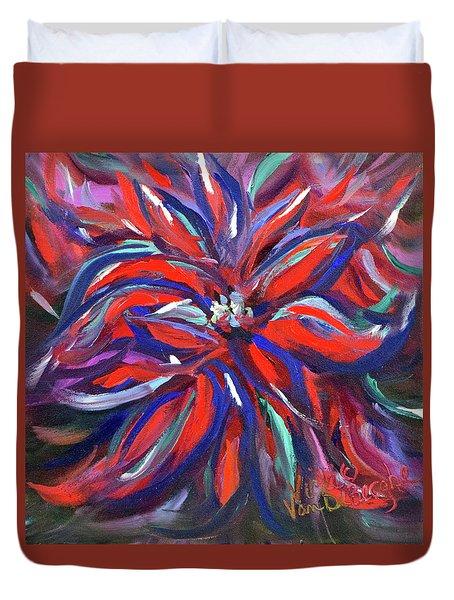 Midnight Poinsettia Duvet Cover