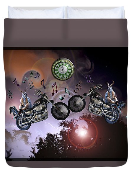 Duvet Cover featuring the photograph Midnight Rider by Amanda Vouglas