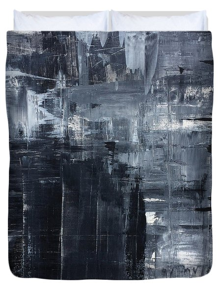 Midnight Shades Of Gray - 48x48 Huge Original Painting Art Abstract Artist Duvet Cover