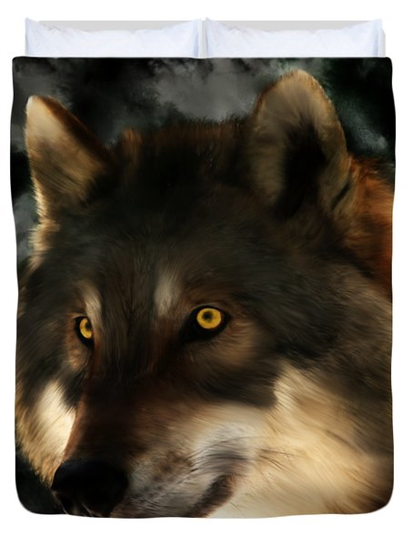 Midnight Stare - Wolf Digital Painting Duvet Cover