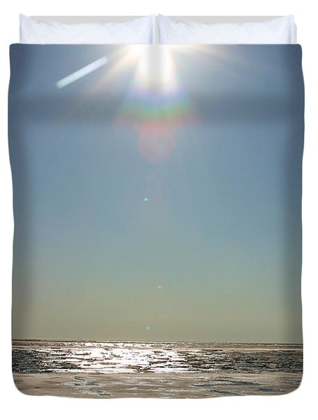 Midnight Sun Over The Arctic Duvet Cover by Anthony Jones