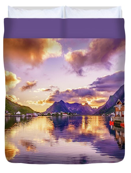 Duvet Cover featuring the photograph Midnight Sun Reflections In Reine by Dmytro Korol