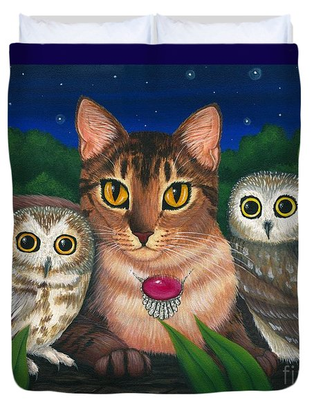Midnight Watching - Abyssinian Cat Saw Whet Owls Duvet Cover