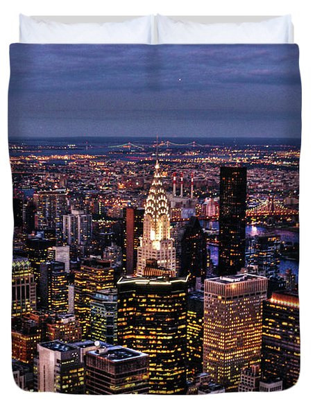 Midtown Skyline At Dusk Duvet Cover by Randy Aveille