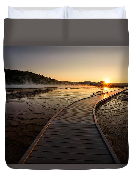 Duvet Cover featuring the photograph Midway Basin Sunset by Dan Mihai