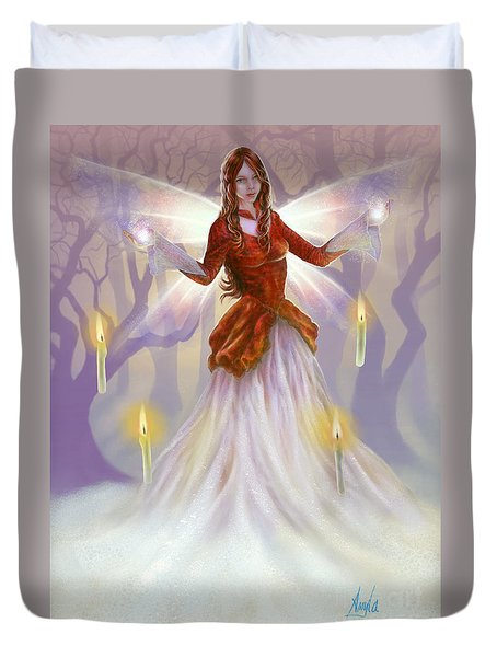 Duvet Cover featuring the painting Midwinter Blessings by Amyla Silverflame