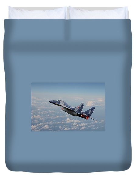 Duvet Cover featuring the digital art Mig 29 - Polish Fulcrum Dedication by Pat Speirs