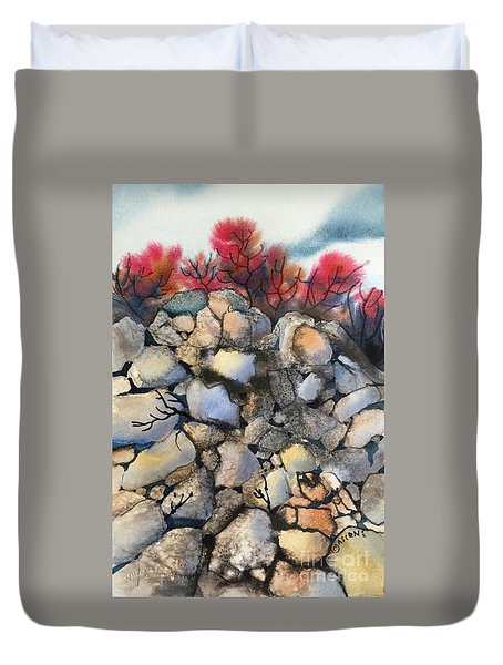 Mighty Cliffs Duvet Cover by Teresa Ascone
