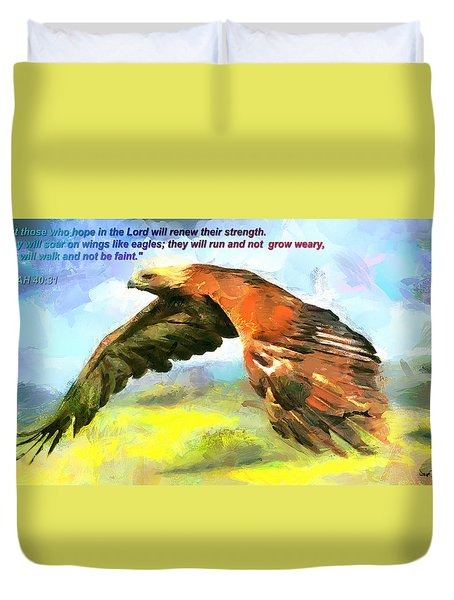 Duvet Cover featuring the painting Mighty Eagle - Inspirational by Wayne Pascall