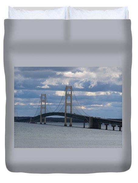 Mighty Mac The Mackinac Bridge Duvet Cover
