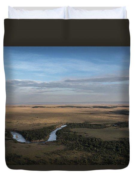 Duvet Cover featuring the photograph Mighty Masai Mara by Ramabhadran Thirupattur