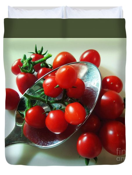 Mighty Mini Tomatoes Duvet Cover by Renee Trenholm