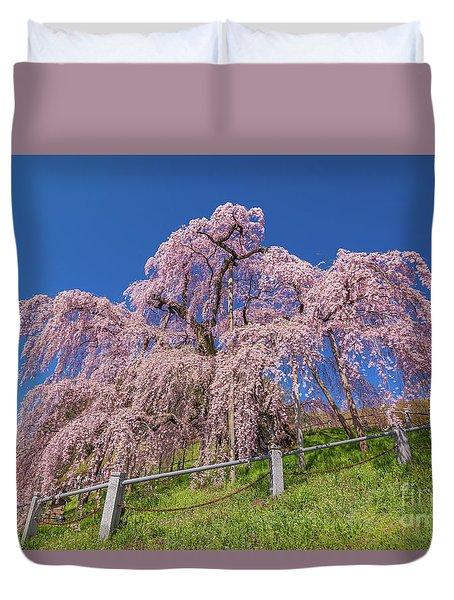 Duvet Cover featuring the photograph Miharu Takizakura Weeping Cherry0565 by Tatsuya Atarashi