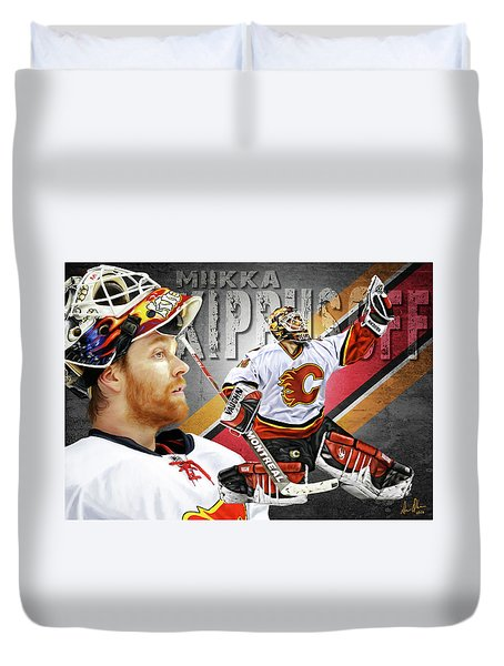 Duvet Cover featuring the photograph Miikka Kiprusoff by Don Olea