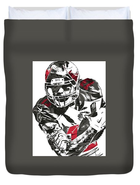 Duvet Cover featuring the mixed media Mike Evans Tampa Bay Buccaneers Pixel Art by Joe Hamilton