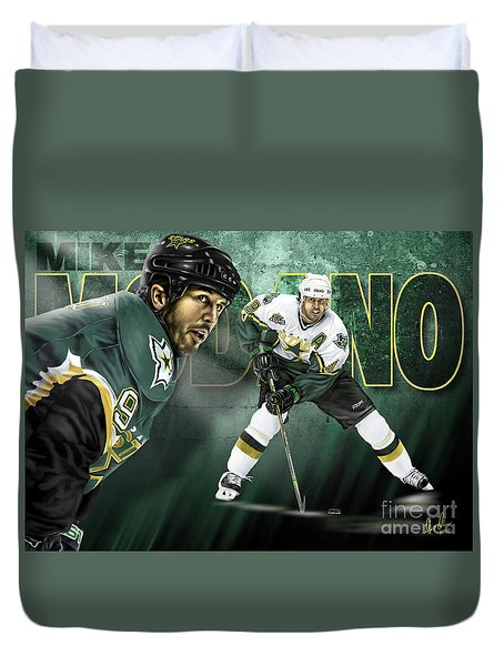 Duvet Cover featuring the digital art Mike Modano by Don Olea