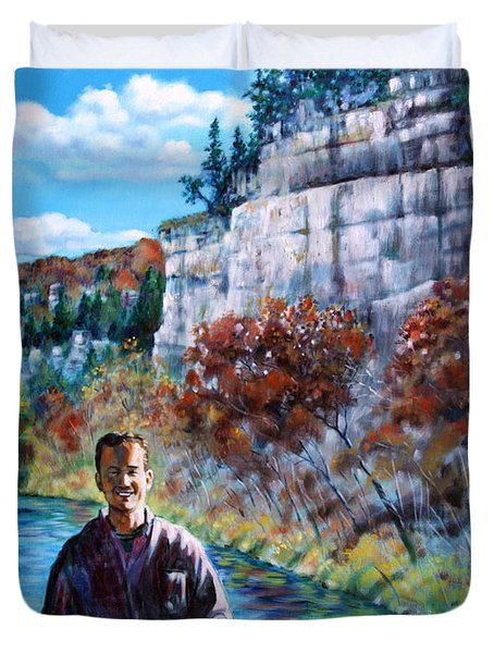 Mike On Float Trip Duvet Cover by John Lautermilch