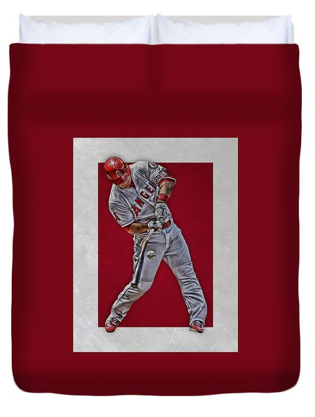 Duvet Cover featuring the mixed media Mike Trout Los Angeles Angels Art 2 by Joe Hamilton