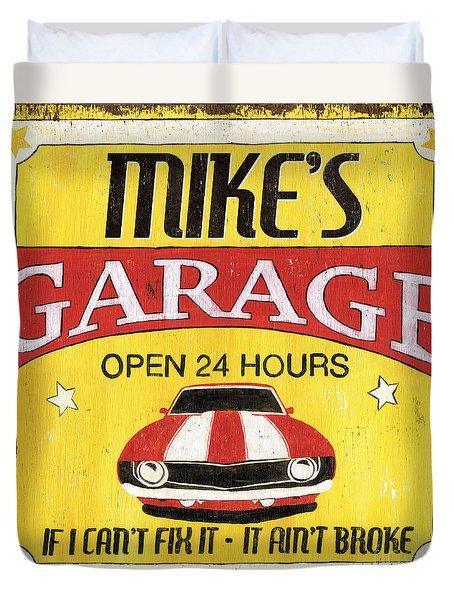 Mike's Garage Duvet Cover